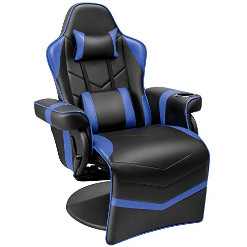 Homall Gaming Recliner Chair Racing Style PU Leather Gaming Chair Ergonomic Adjusted Reclining Office Desk Chair Home Theater Single Sofa Chair with Footrest Headrest and Lumbar Support (Blue)