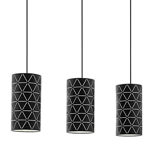 EGLO Pendelleuchte Ramon, 3 flammige Hängelampe Modern, Hängeleuchte aus Stahl in schwarz, weiß , Esstischlampe, Wohnzimmerlampe hängend mit E27 Fassung