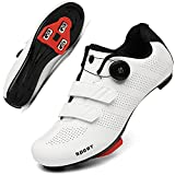 Cycling Shoes Women Men Road Bike Cleat Peloton Shoe Buckle SPD and Delta Indoor Outdoor Cycling Shoes 8White37