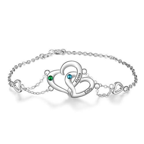 XIXI Personalizado Pulsera con 2 Nombre Grabado Plata Ajustable Corazón Pulsera para Mujer Personalizada Regalo para Día de San Valentín Navidad Día de la Madre