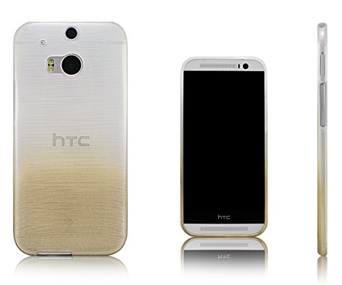Xcessor Transition Color Flexible TPU Case for HTC One M8. with Gradient Silk Thread Texture. Transparent/Gold