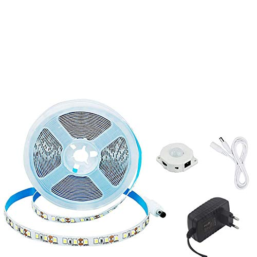 JOYLIT 5M LED Streifen Licht mit Bewegungsmelder Kaltweiß 6000K-6500K, 600LEDs SMD 2835 LED Strip, 12V Flexibel DIY LED Band IP33 LED Lichtband für Innen Küche Dekoration