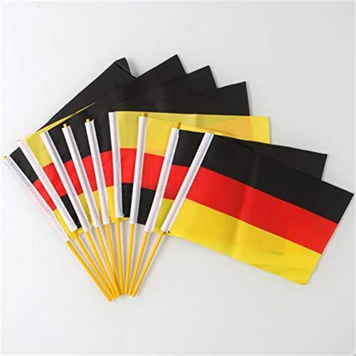 Pudincoco 10 Piezas Nueva pequeña federación Que agita a Mano la Bandera Nacional Rusia/Alemania 21 * 14 cm exquisitamente diseñado Duradero