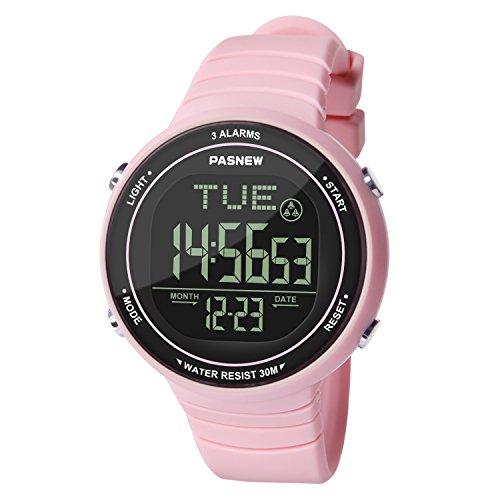 Hiwatch Mädchen Stoppuhr LED Digital Quarz mit Silikon Armband Armbanduhr -rosa