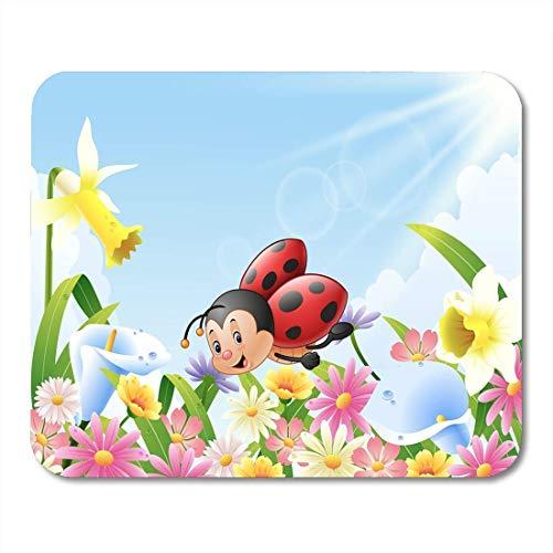MauspadsBunteentzückendeKarikaturLustigerMarienkäfer,derüberBlumenfeld-MauspadfürNotizbücher,Desktop-Computer-MattenBürobedarffliegt