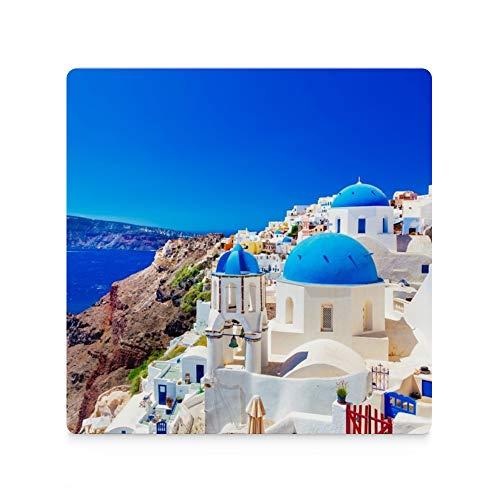 Juego de 4 posavasos para bebidas Santorini Island Egeo, cuadrado de cerámica...
