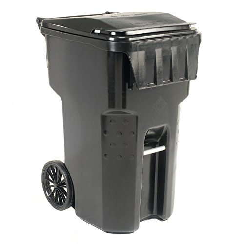 Global Industrial Mobile Heavy Duty Trash Container, 95 Gallon, Black