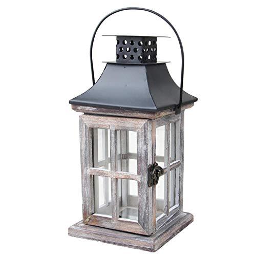 Linterna colgante de madera, metal europeo, estilo rural, estilo vintage, portavelas decorativo para el hogar/jardín