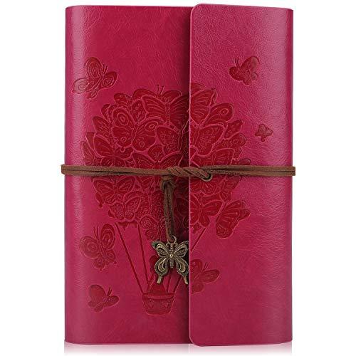 Cuaderno de cuero sintético con espiral de viaje, rellenable con papel a rayas, con colgantes retro en relieve, A5, 23,6 x 16 cm (rojo rosa)