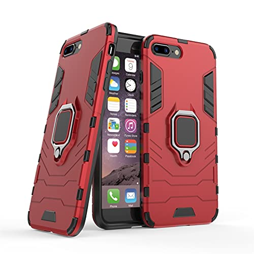 HHF - Accesorios para teléfono celular para iPhone 7 Plus, carcasa rígida de poliuretano termoplástico con soporte de anillo para iPhone 7 Plus/8 Plus (color rojo)