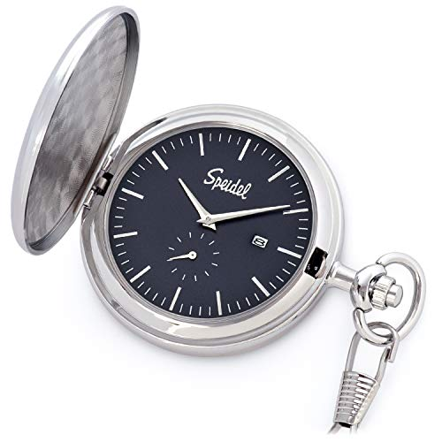 """Speidel Classic Brushed Satin Silver-Tone Engravable Pocket Watch with 14"""" Chain, Navy Blue Dial, Date Window, and Seconds Sub-Dial"""