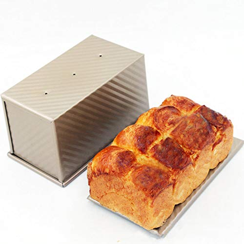 Loaf Pan with Lid, Carbon Steel Bread Pan with Lid Bread Loaf Pan for Baking Baking Pan for Meatloaf, Mini loaf, Pullman loaf, Golden, by Ayuboom(8.3 X 4.8 X 4.6 Inch)