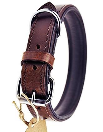 ✅ HANDGENÄHTES, ECHTES RINDSLEDER - das hochwertige, echte Leder wird sorgfältig ausgewählt und das Hundehalsband individuell von Hand genäht ✅ ELEGANT UND ROBUST ZUGLEICH - die Kombination von braunem Außen- und schwarzem Innenleder macht das Halsba...