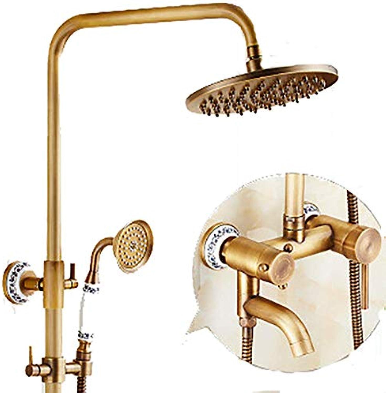 Cxmm Duschsysteme Creative Antique Brass Duschset, Wandmontage für Familien Hotels mit kaltem warmem Wasserhahn, frei hebende 3-Loch-InsGrößetion (Farbe  Messing, Gre  D)