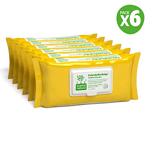CalenduflorBaby® Toallitas húmedas Bebé Mama Natura®, Biodegradables con Extracto Calendula officinalis. 6 packs x 72 uds (432 unidades) - Aptas para el WC…