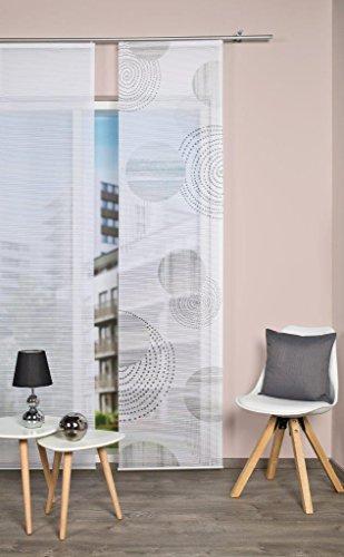 Vision S 84332 | Schiebegardine NEOMI | halb-transparenter Stoff in Bambus-Optik | 260x60 cm | Farbe: (grau)