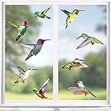 Hianjoo Vogel Aufkleber Fenster Wiederverwendbar, Vogelschutz Fenster Anti-Kollision Aufkleber Fenster, Kolibri Fensterbilder Selbstklebend (8 Stücke 18pcs Vogel)