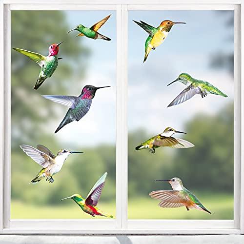 Hianjoo Pegatinas para Ventanas de Colibrí, 8 Hojas 18 Pájaros Tamaño Grande Anticolisión para Ventanas Adhesivos Reutilizables para Colibríes Se Aferra Adhesivos para Aájaros
