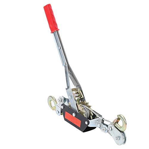 Cikonielf Tensor manual de trinquete, cable de alambre, trinquete, tensor eléctrico, con doble gancho, herramienta de elevación con cable (4T)