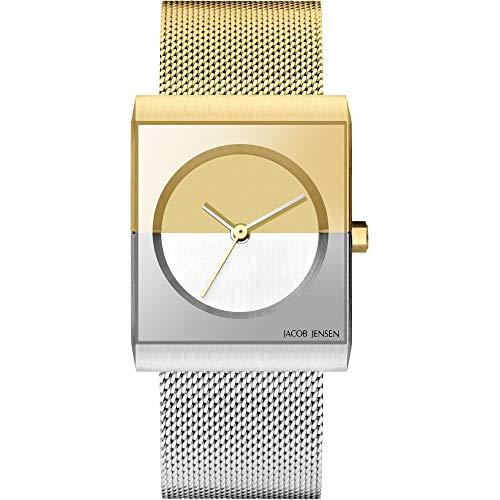 Jacob Jensen Damen Analog Quarz Uhr mit Edelstahl Armband JJ526
