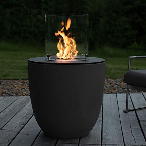 muenkel design Lasa – Asfalto nero – Bioetanolo focolare da giardino fiaccola da terrazzo con bruciatore rotondo 350 camera di combustione