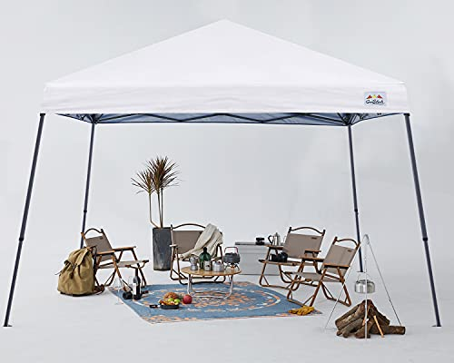 COOSHADE 7.5x7.5ft Slant Leg Pop Up Canopy Tent,Easy One Person Setup Instant Sun Protection Beach Shelter,Portable Sports Cool Cabana(White)