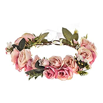 Vividsun Adjustable Flower Crown Floral Headpiece Floral Crown Wedding Festivals Photo Props  Baby Pink