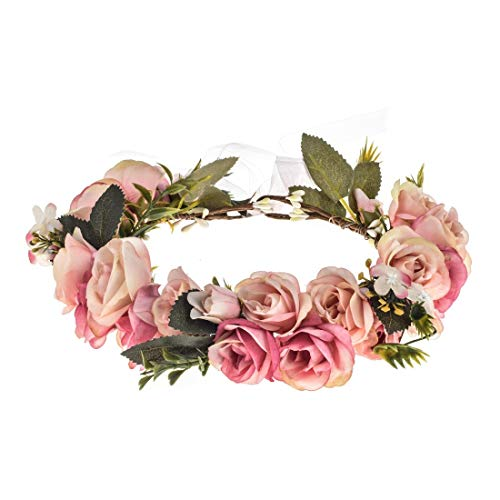 Vividsun Adjustable Flower Crown Floral Headpiece Floral Crown Wedding Festivals Photo Props (Baby Pink)