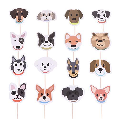 Happyyami Topper para tartas con forma de perros para decoración de tartas, para cumpleaños, bodas, bautizos, 32 unidades