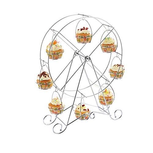 WZM Plato Creativo Rueda de la Fortuna Bandejas ParaTartas Redondas Fruteros con Pisos Soporte de Metal para Tartas Soporte Pastel (Color : B)