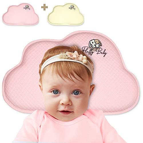 Fluffy Baby Perfect Pillow – Orthopädisches Babykissen für Neugeborene/Säuglinge/Babys – Gegen Flachkopf/Plattkopf/Kopfverformung- 2 Bezüge - Gedächtnisschaum -gelb/rosa