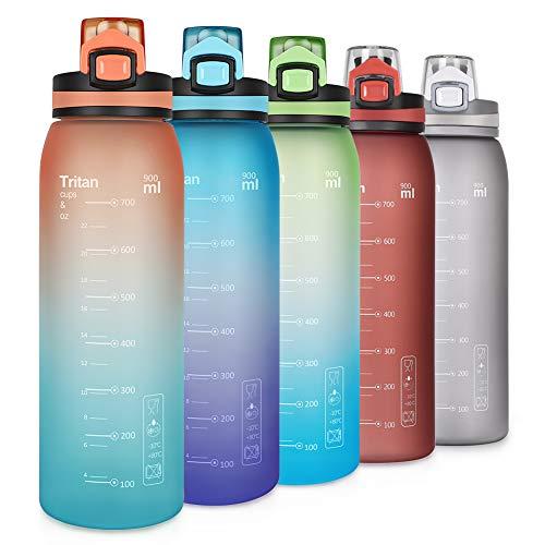 Opard Botella deportiva de 900 ml – Botella de agua de Tritan sin BPA, a prueba de fugas, para niños, deportes, fitness, bicicleta, fútbol, actividades al aire libre