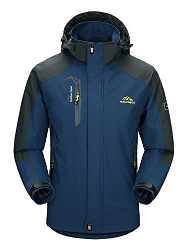 MAGCOMSEN Herren Regenjacke Funktionsjacke Wasserdicht Skijacke für Männer Atmungsaktiv Softshelljacke Winddicht Jacke für Angeln Camping Dunkelblau 2XL