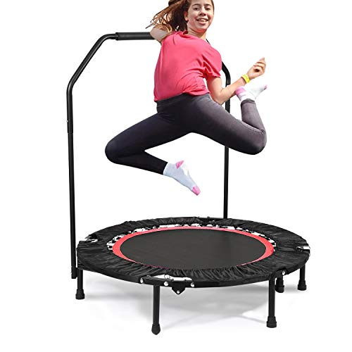 Bunao Portable & Foldable Fitness Workout Mini Rebounder Trampoline 40 Inch Max Load 300lbs with Adjustable Handrail for Indoor Garden Workout Cardio Exercise (Type3)