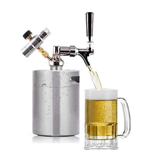 ASDF Mini dispensador de Barril de Cerveza Sistema de dispensador de Barril de Acero Inoxidable Portátil con regulador de presión (2L)