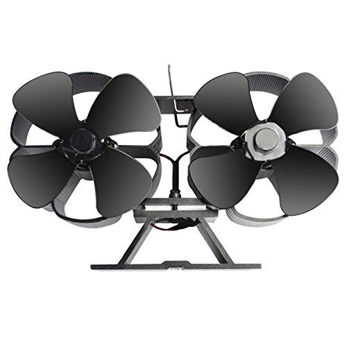 BXU-BG Ventilador de estufa de leña de 8 hojas de doble motor, ventilador de estufa Eco Eco de calor silencioso, estufa de leña dinámica caliente