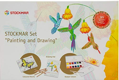 Stockmar Art Set: Opaque Colors, 18 FSC Certified Hexagonal Colored Pencils +1 Graphite Pencils and Drawing Pad (120 GSM)