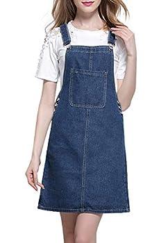 chouyatou Women s Casual Adjustable Shoulder Strap Short Denim Bib Overall Skirt Dress  Medium Blue