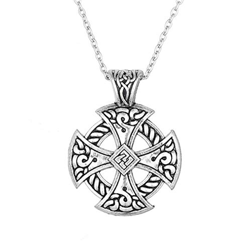 Zzred Norse Vikings Magic Ancient Solar Sun Necklace Cross Irish Celtic Knot Pendant Wiccan Jewelry