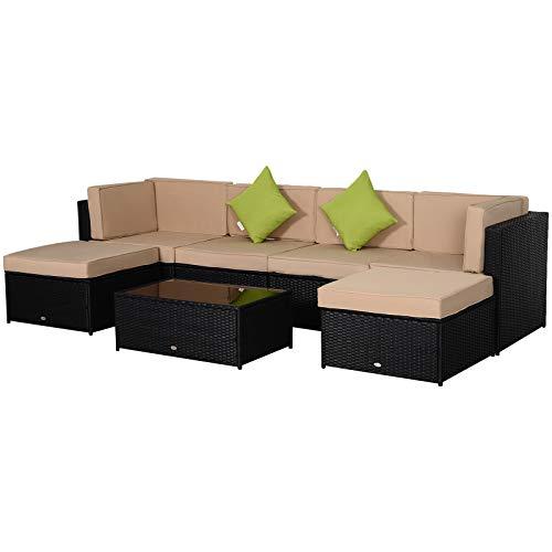 Outsunny Conjunto Muebles de Jardín de Ratán 7 Piezas Mesa Sofás Taburetes con Cojines Lavables 2xSofá de Esquina 2xSofá 2xTaburete 1xMesa de Centro