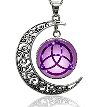 GEMINGO Triple Moon Triquetra Irish Celtic Knot Necklace Witchy Pentacle Pentagram Goddess Pendant Necklace Wiccan Pagan Jewelry Charms Gift for Women and Men