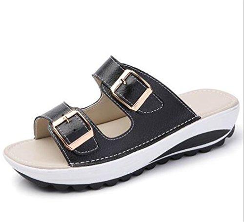 Boowhol Femme Sandales été Cuir Véritable Confortable Plat Chaussures Pantoufles Flip-flops Tongs (Noir, 36 EU)