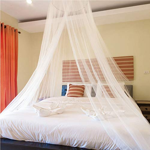 Mosquito Net, King Size Bed Canopy Hanging Curtain Netting for Single to Fits All Cribs and Beds for Adult Bedroom, Kids Rooms, Baby Bassinet, Garden, Camping - Quick Easy Installation