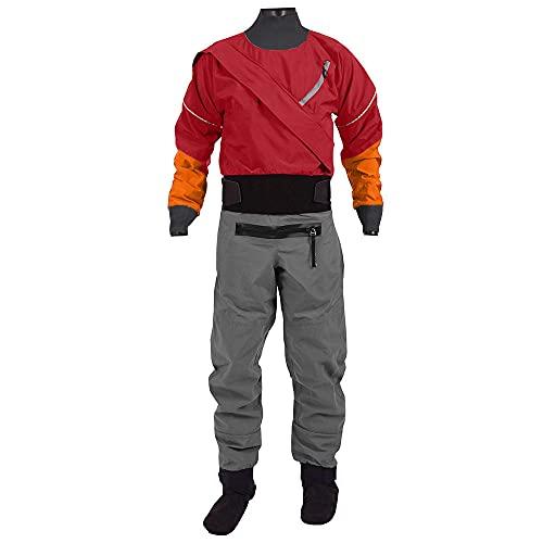Manspyf Traje seco ligero transpirable con cremallera frontal para hombre, bote inflable, kayak, traje seco, rojo, S