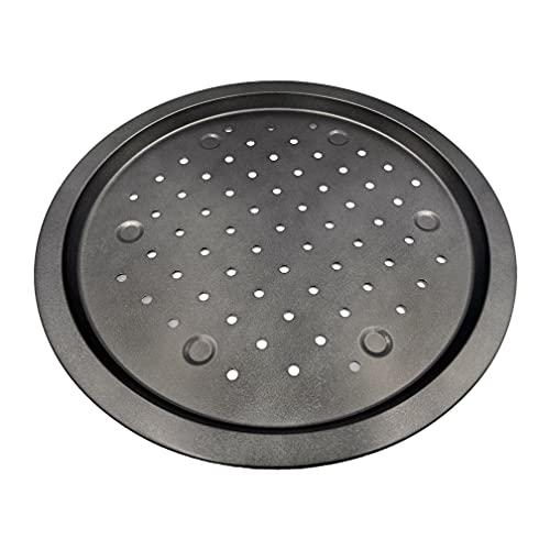 HKM Bandeja antiadherente para horno de pizza, acero al carbono, redonda con agujeros de aire perforados, resistente al calor, 35 x 2 cm