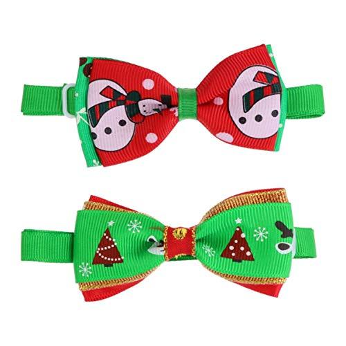 ibasenice Corbata de Navidad para Mascotas Pajaritas de Cuello de Perrito de Navidad Corbata de Perro Gato Corbata Festival Cosplay Pajaritas Ajustables Collares para Perro Gato Adornos de