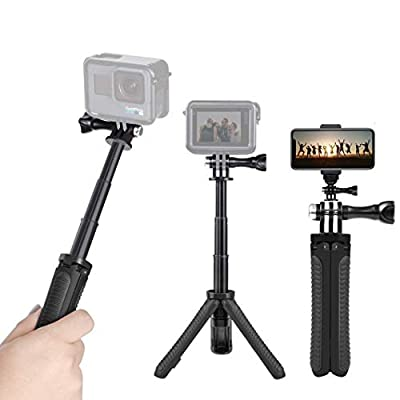 Taisioner Mini Selfie Stick Extender Tripod Pole Two in One for GoPro Hero 7 6 5 4 3 3+ SJCAM Action Camera for iPhone X/XS/XR/Xmax / 8/7 / 6 / 6S / Samsung/Honor/Mobile Phone from Taisioner