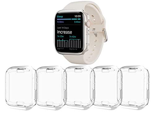 Paquete de 5 protectores de pantalla compatibles con Apple Watch Series 7 de 1.772in, TPU suave HD transparente, ultrafino, para iWatch Series 7 de 1.772in, accesorios