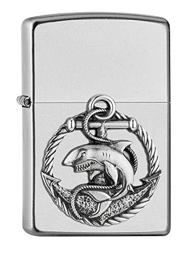 ZIPPO – Emblema Shark Chrome – Accendino a benzina ricaricabile, in confezione regalo di alta qualità