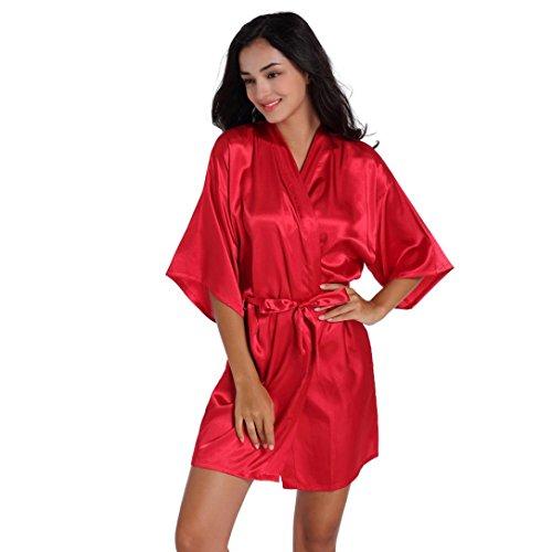 Rawdah Pijama de Seda Corto Puro del Traje del Kimono de Las Mujeres para el Banquete de Boda de la Novia (Rojo, L2)
